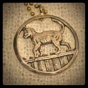 Vintage sterling silver cat pendant necklace